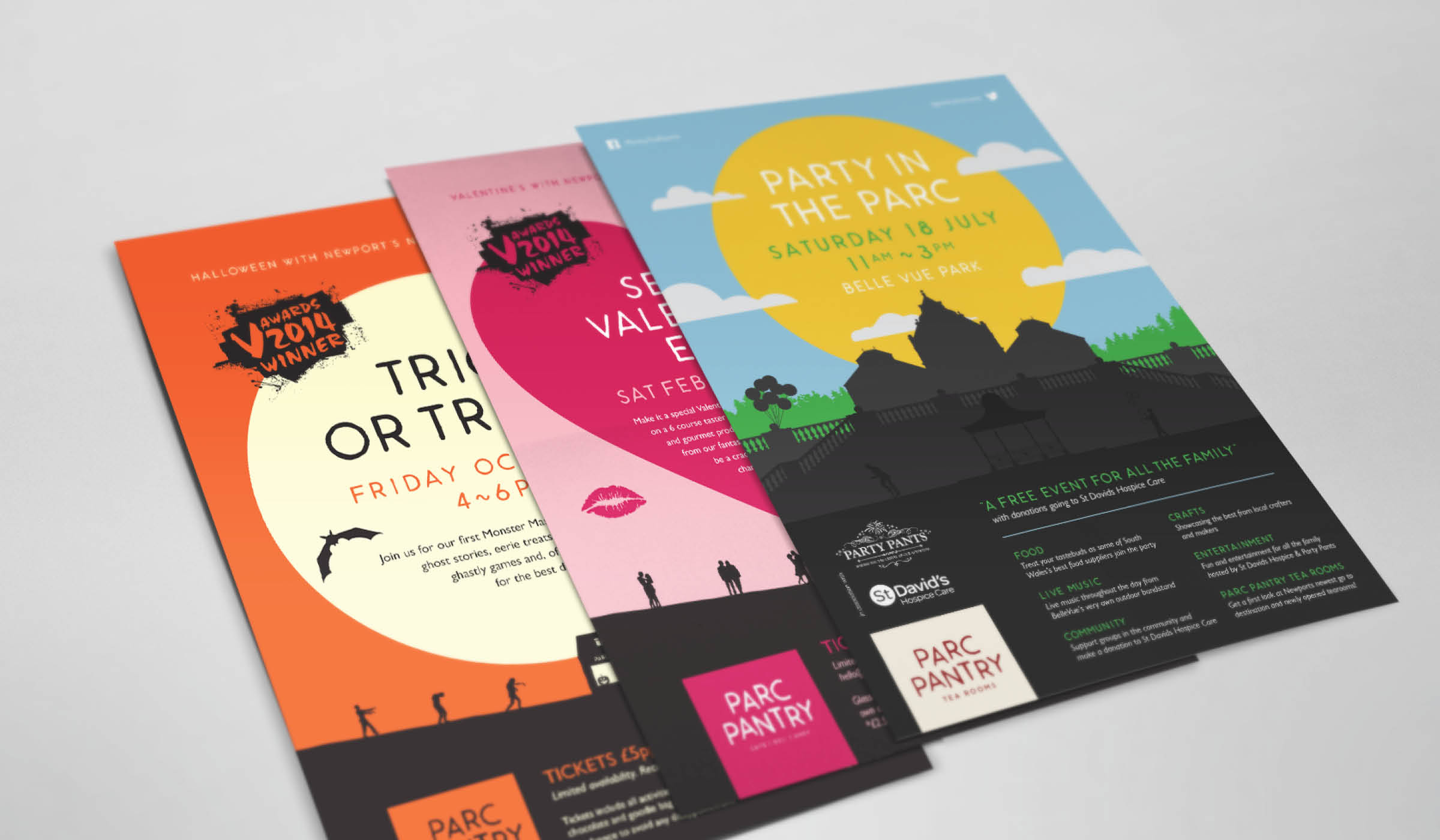illustrated poster designs for cafe events