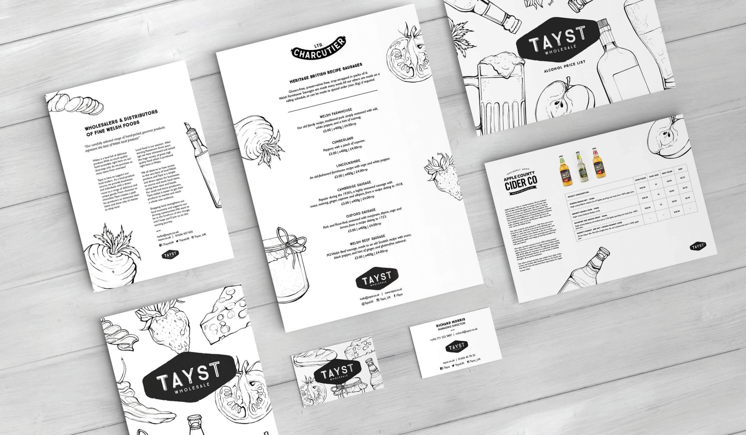 illustrated brand identity and stationery for food and drink wholesaler