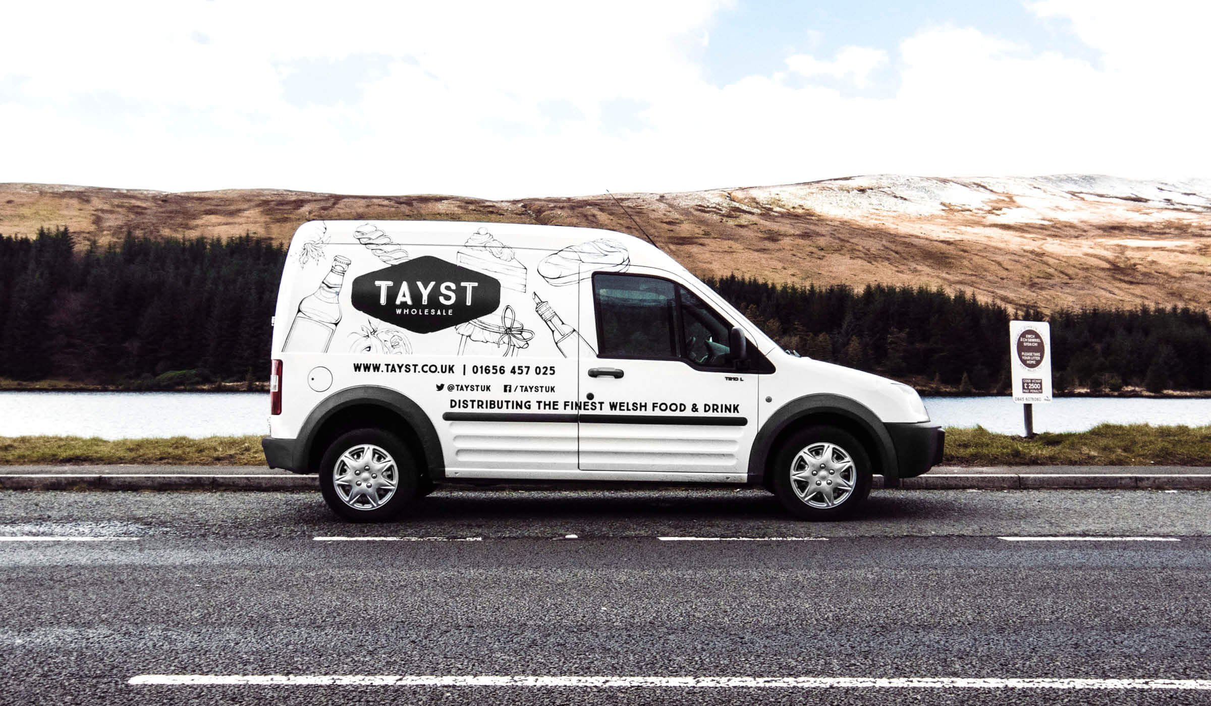 illustrated van decal for food and drink wholesaler in Wales