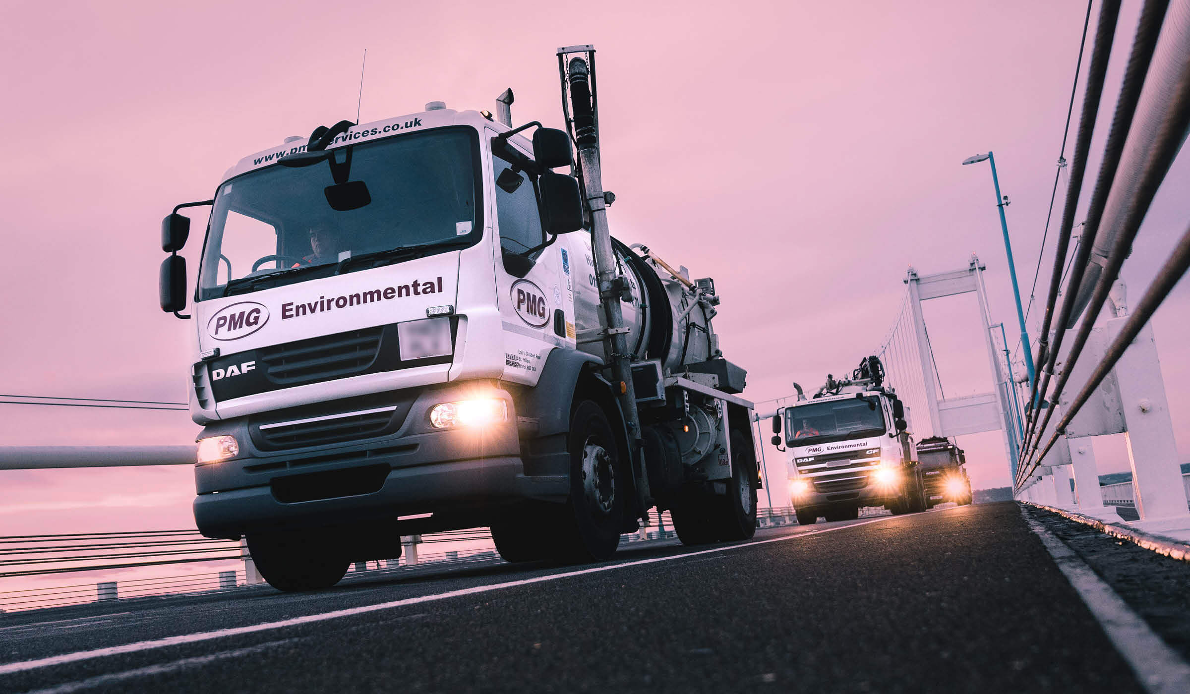 photograph of Bristol based road sweepers on Severn Bridge