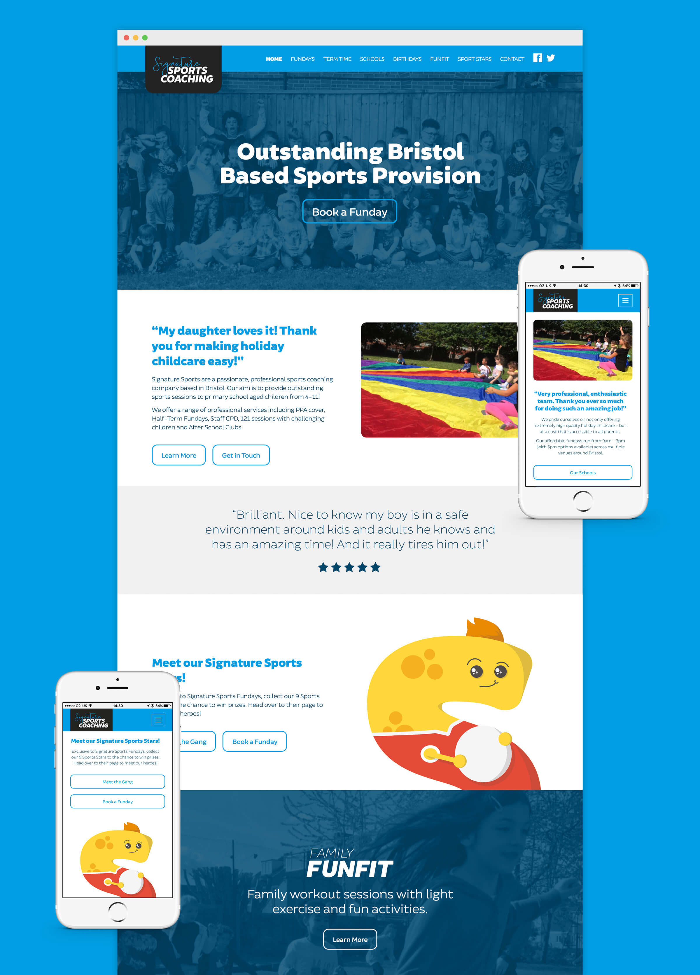 Responsive website homepage design for Bristol sports coach