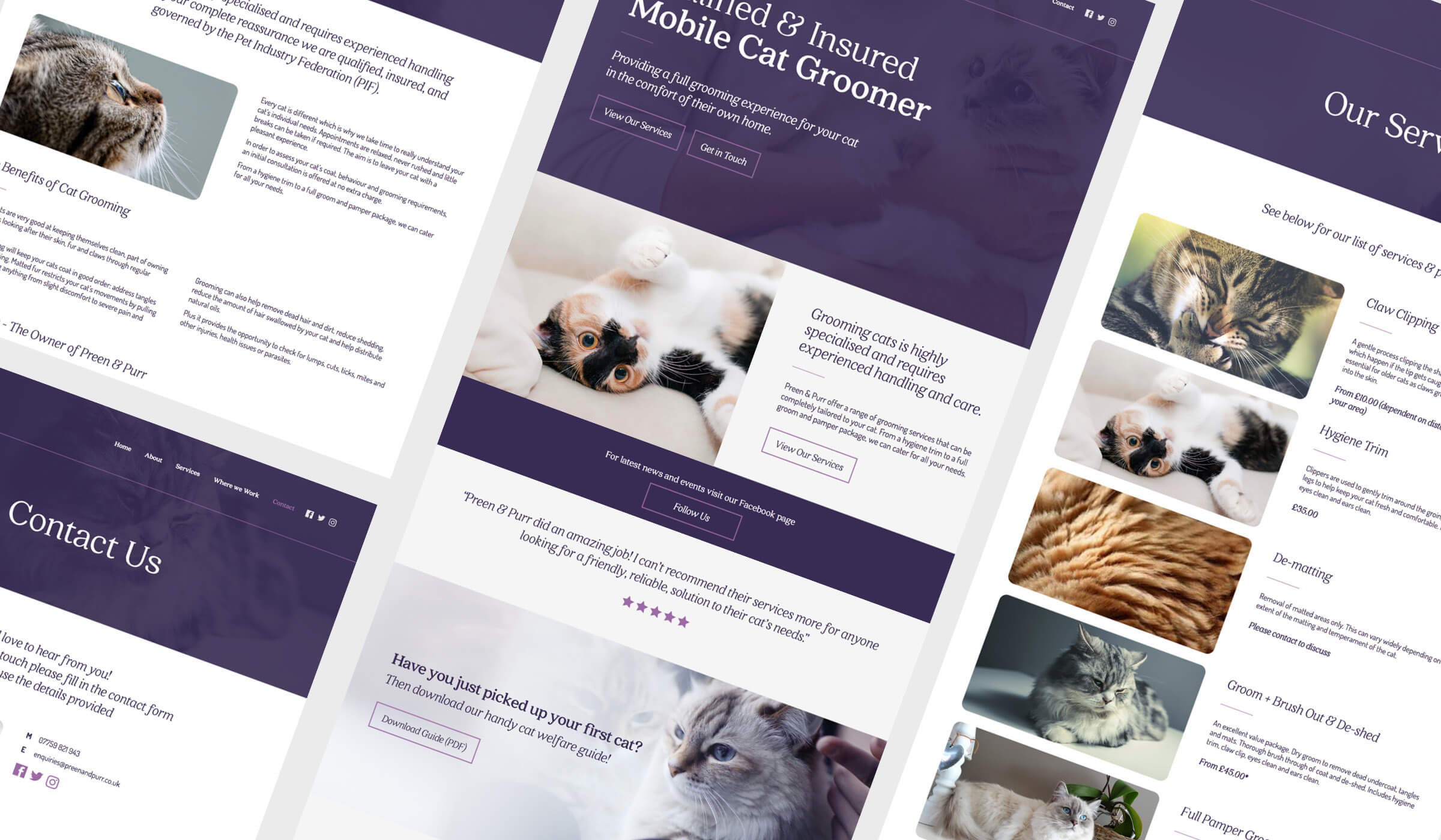 Pet grooming service website design