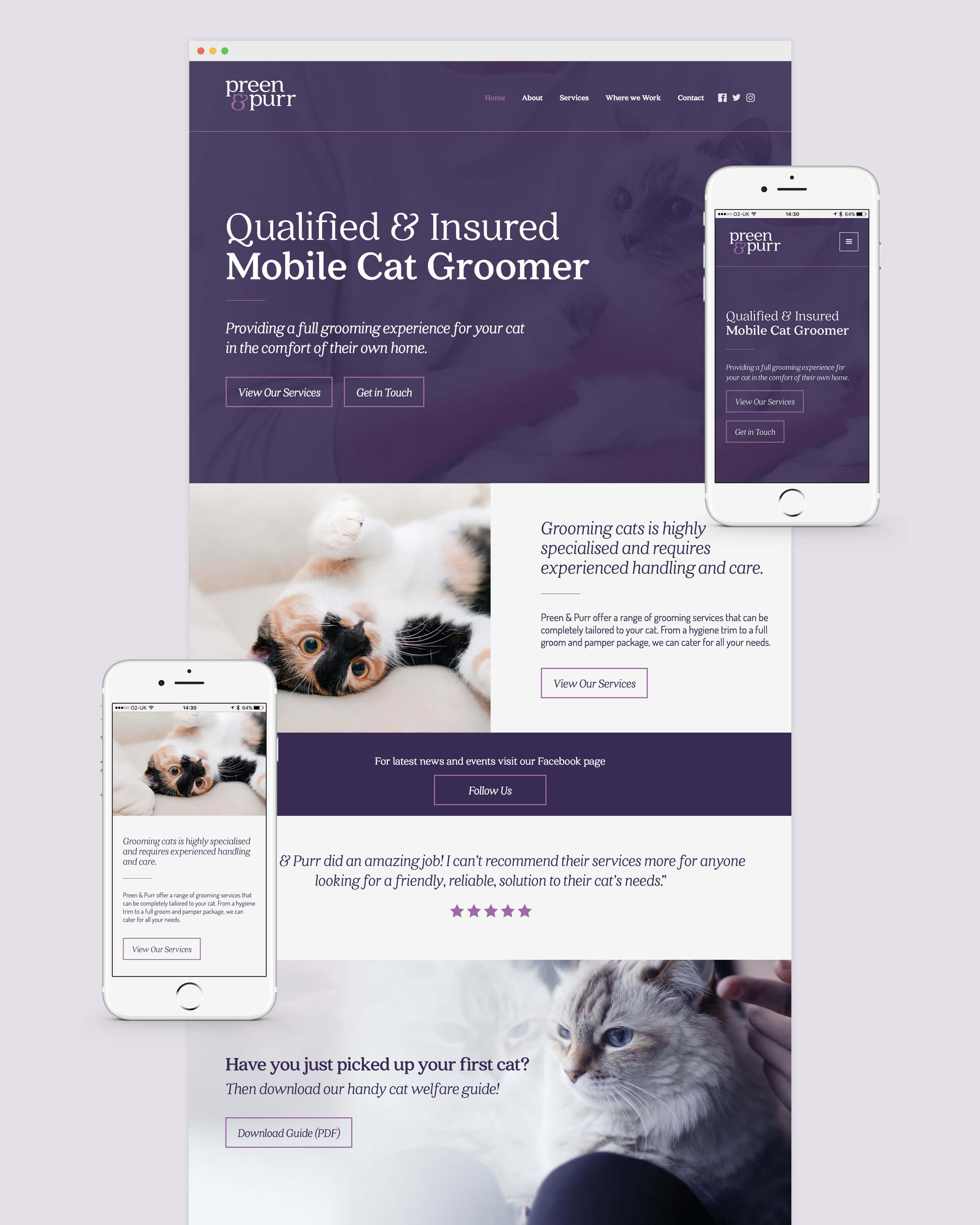 Responsive website for Bristol based cat groomer