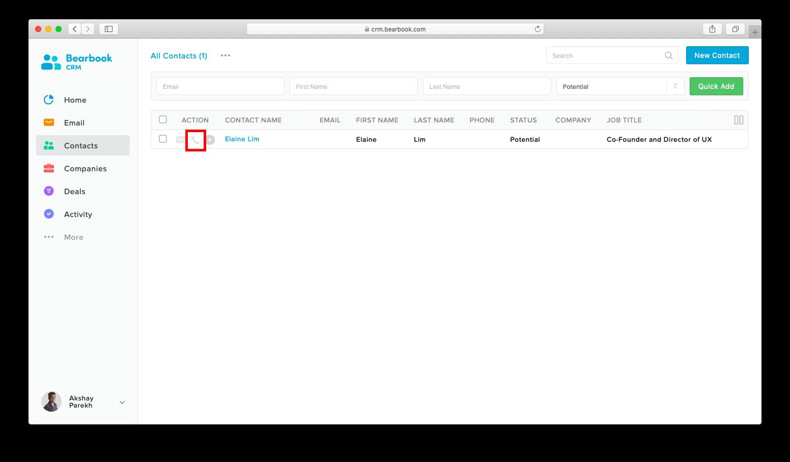Built-in call Bearbook CRM