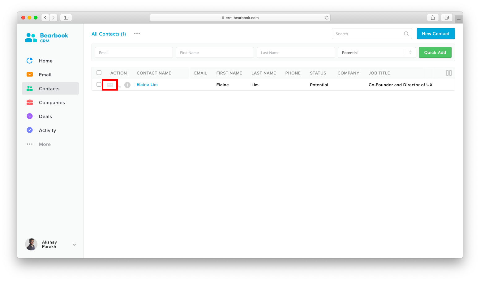 Built-in Email Bearbook CRM