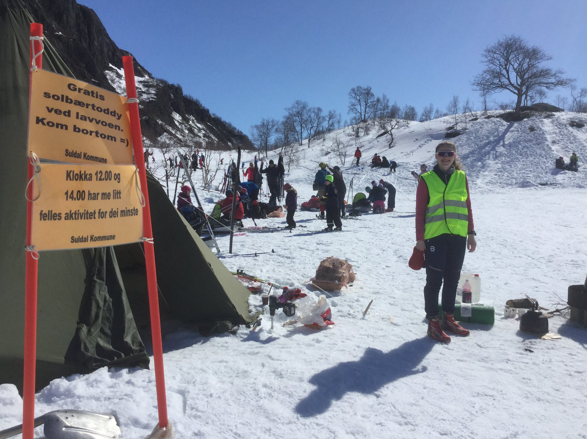 Children play area in snow