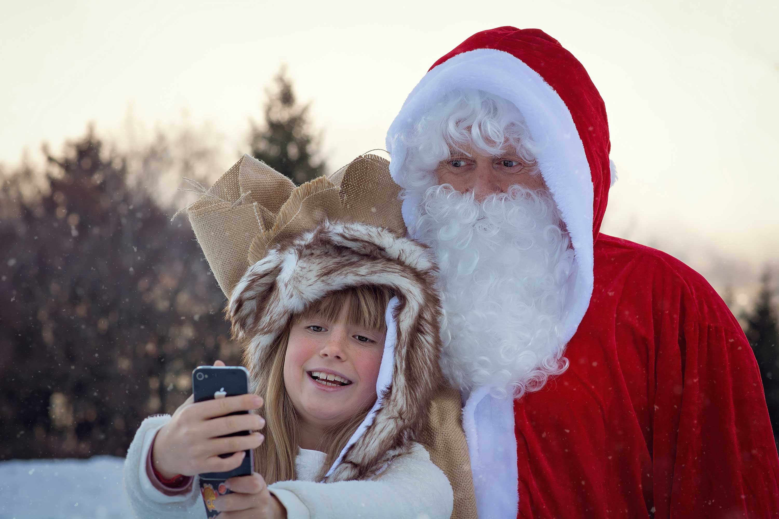 Kid selfie with Santa Clause - Christmas memories