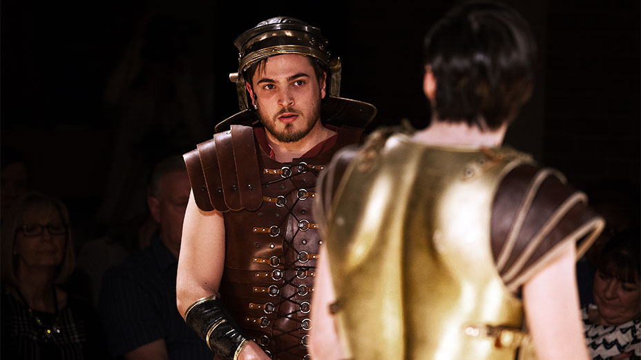 Artless dressed up as two Roman soldiers in 'Centurion'