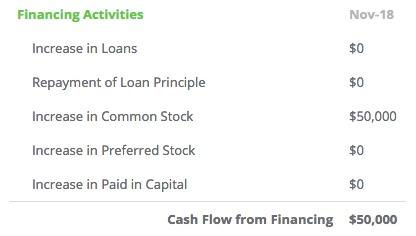 financing activities of cash flow statement