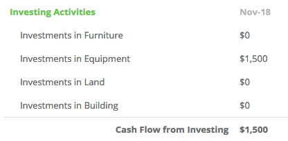 investing activities section of the cash flow statement