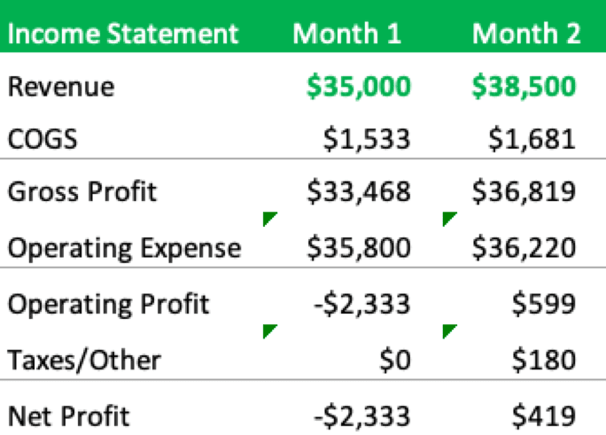 Final Pro Forma Income Statement for a New Business
