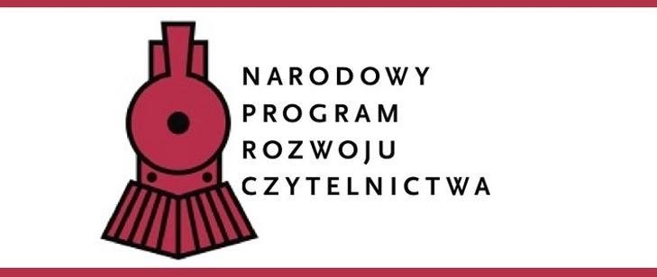 Logo przedstawiające czerwony przód lokomotywy, obok czarny napis drukowanymi literami Narodowy Program Rozwoju Czytelnictwa