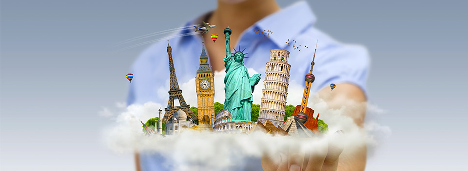 timeshare company: man holding a cloud of landmarks for travel