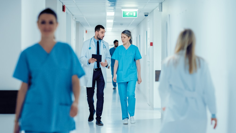 Doctors in hallway of a hospital