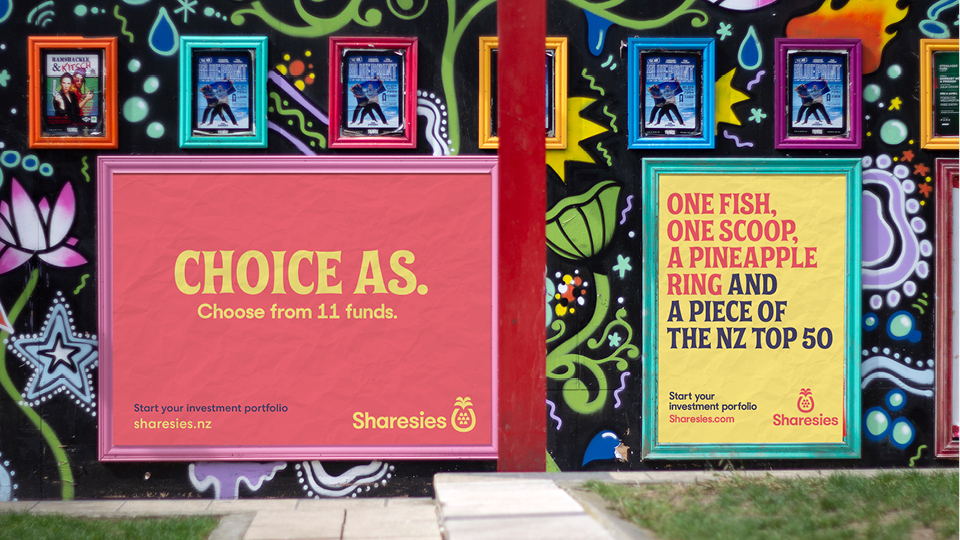 Outdoor posters - Sharesies brand identity case study