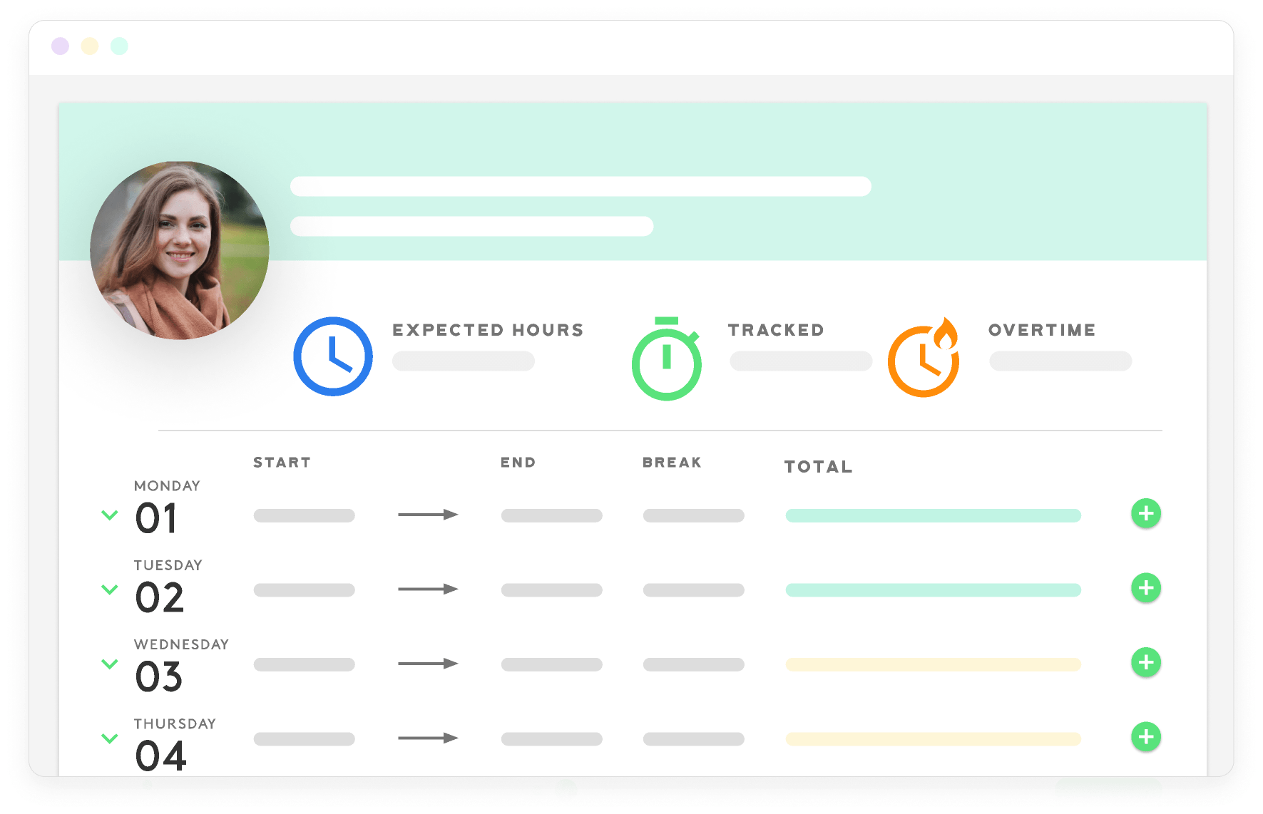 time tracking software Kenjo example