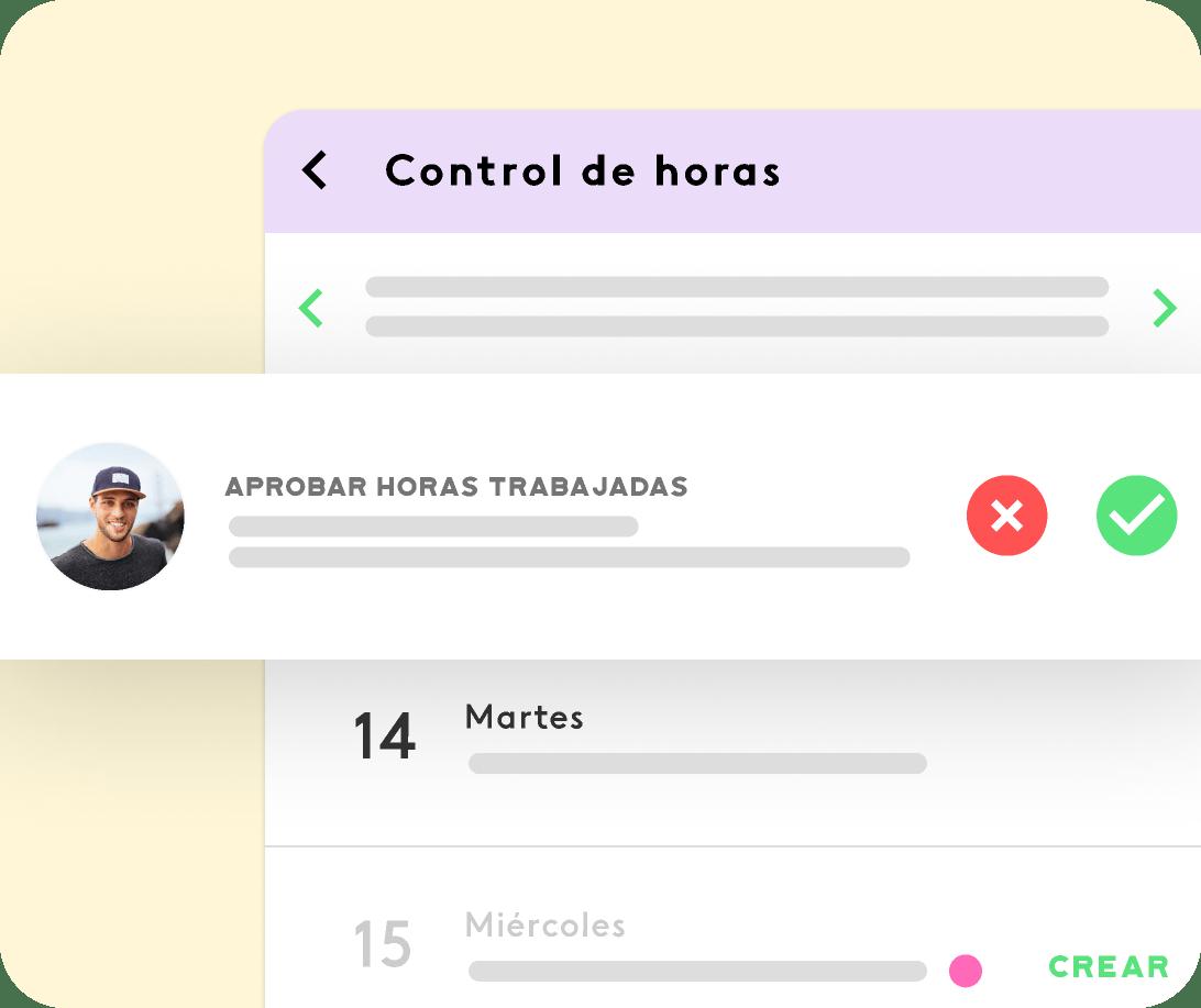 interfaz del software de control horario de Kenjo