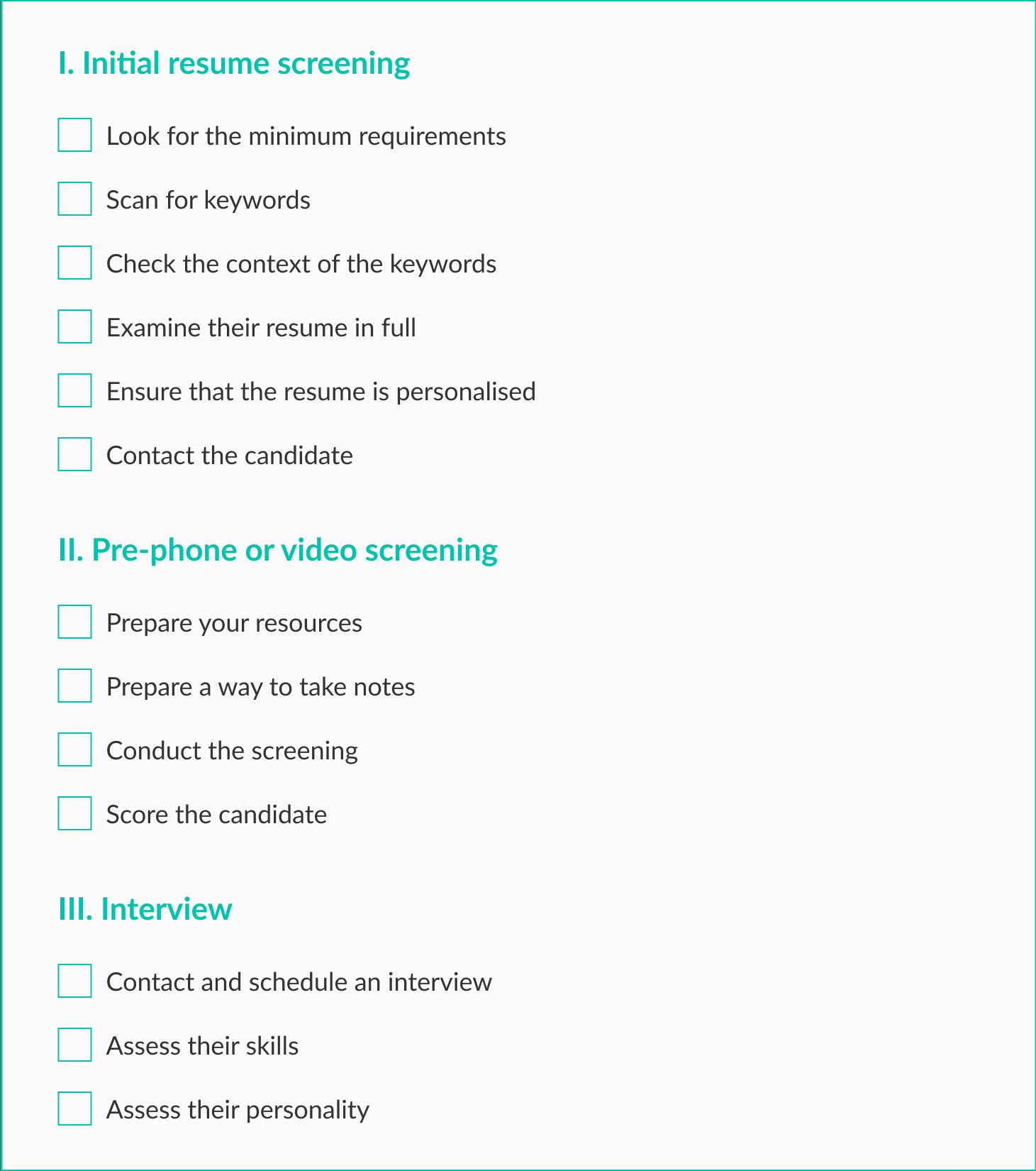 checklist para crear un departamento de RRHH