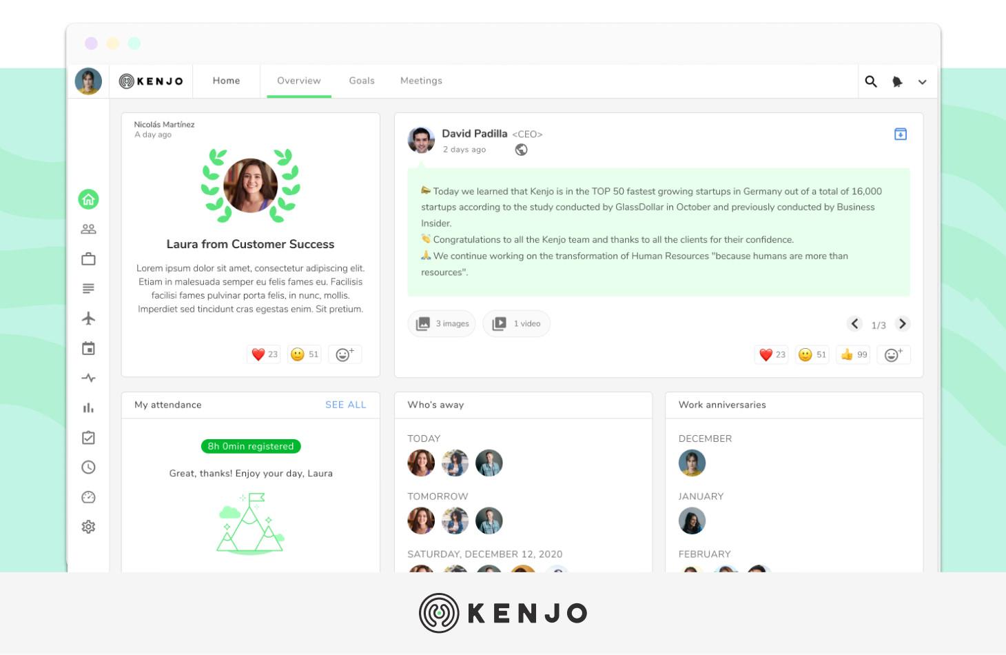 interface del software de clima laboral de Kenjo