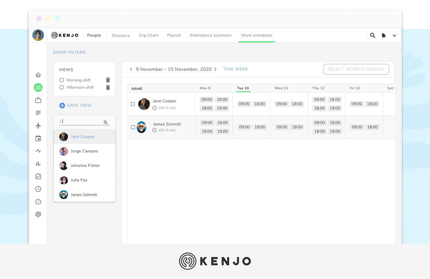 interface del sotware de vacaciones de empleados de Kenjo