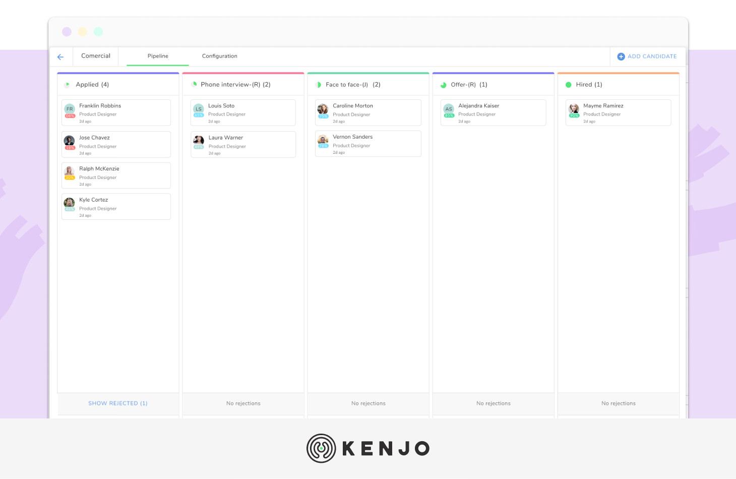 interface del software de reclutamiento de Kenjo
