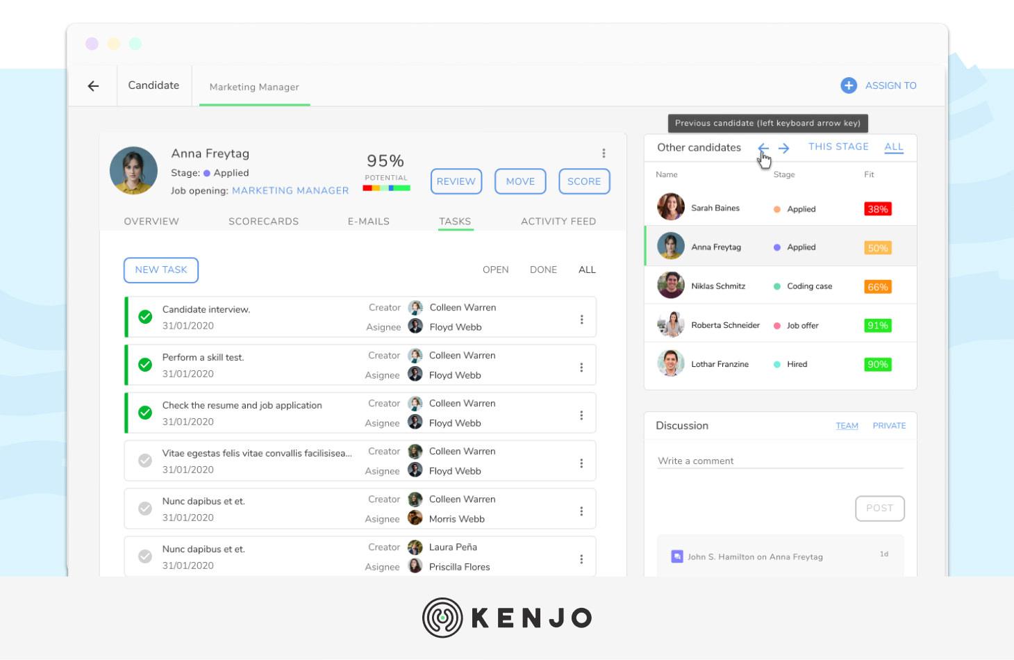 interface del software ATS de Kenjo