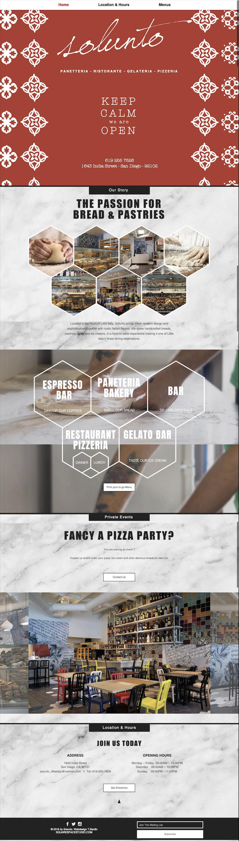 Website Solunto Restaurant by SquareSpaceStudio best webdesign san diego