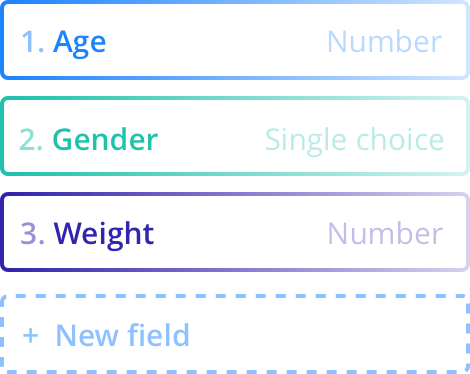 Screenshot of the different field types you can add to your form: Age (Number), Gender (Single Choice), Weight (Number), etc.