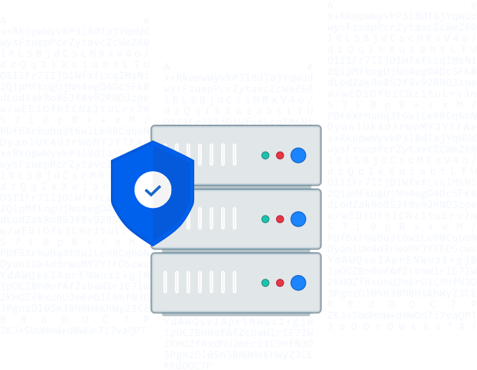 Illustration of a computer server, protected by a blue shield.
