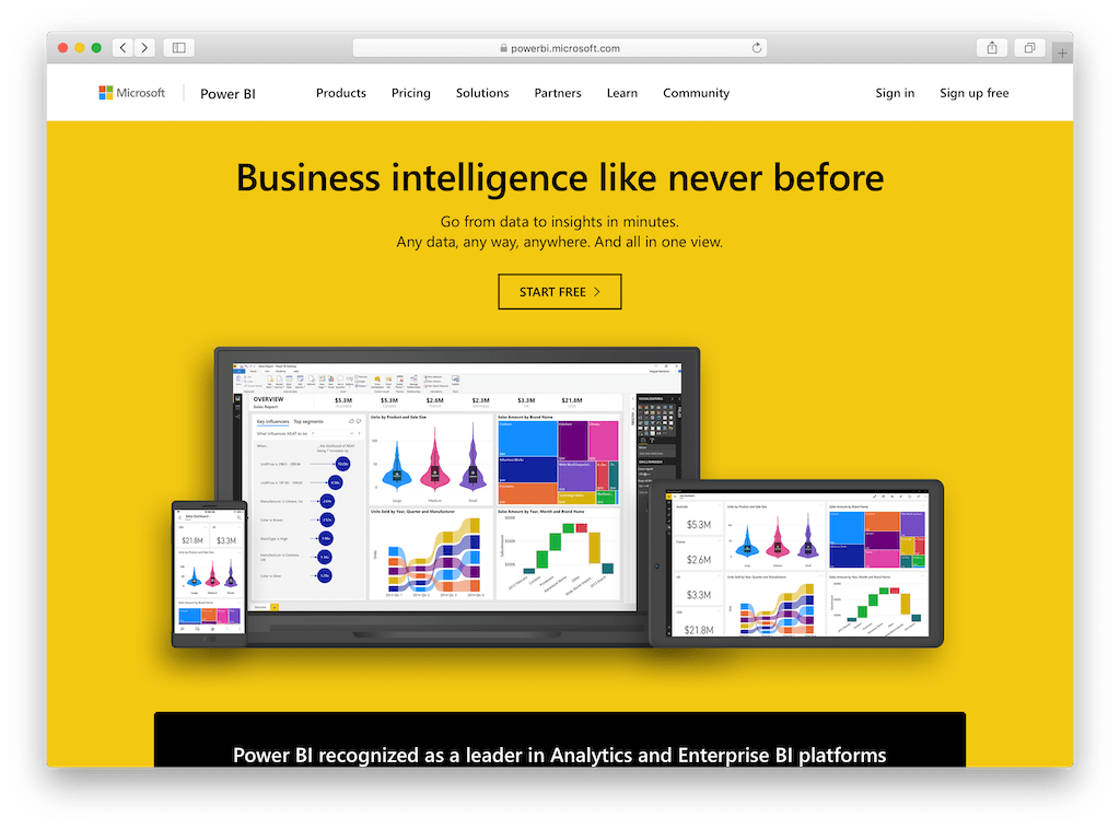 Screenshot of PowerBI's website