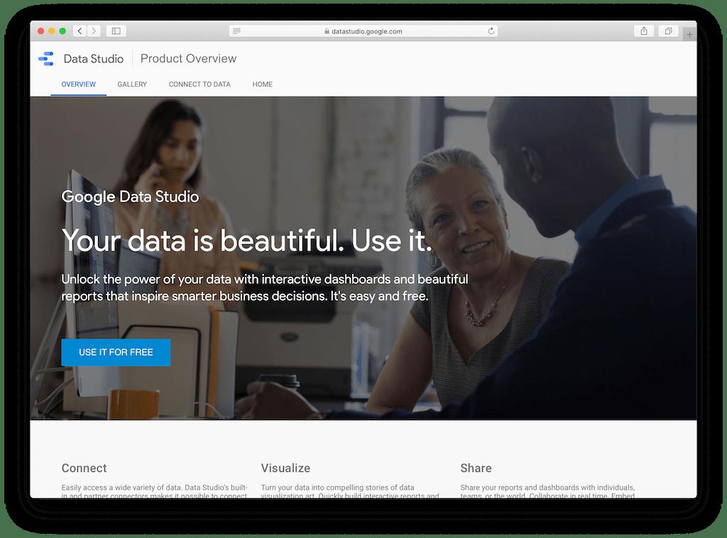 Screenshot of Data Studios's website