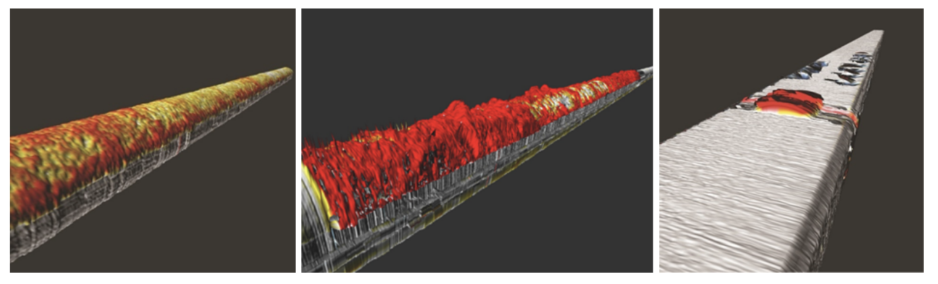 Multi-sensor inspection (MSI) data modeled as a topographical graph of the pipe, displaying levels of corrosion through color coding.