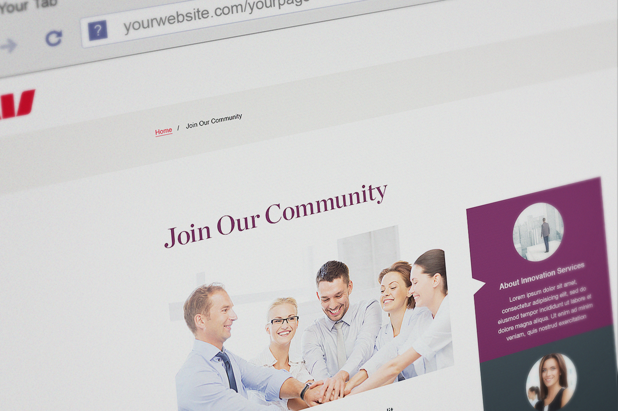 Westpac UI main page concept
