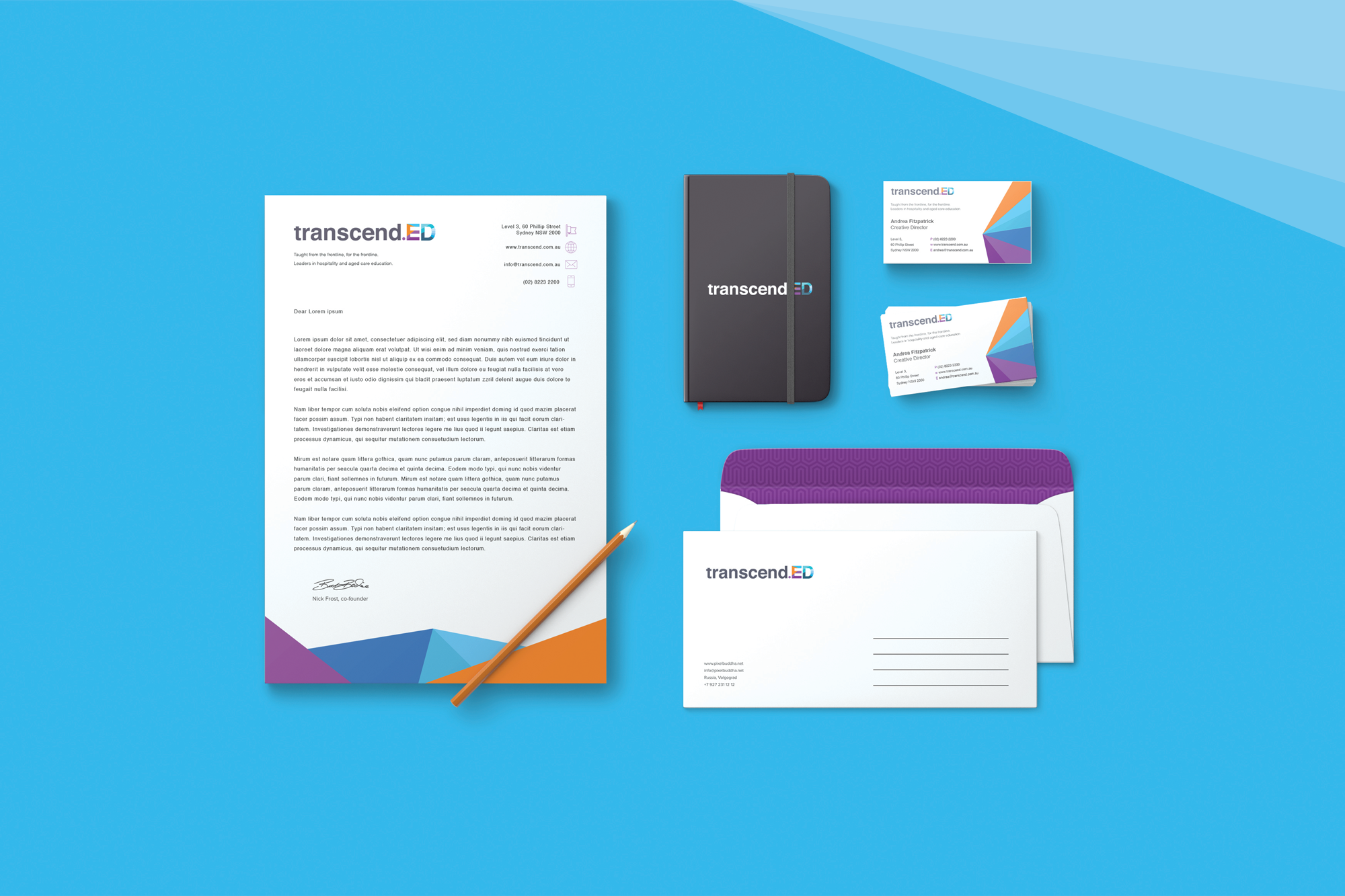 Transcend business collateral mockup