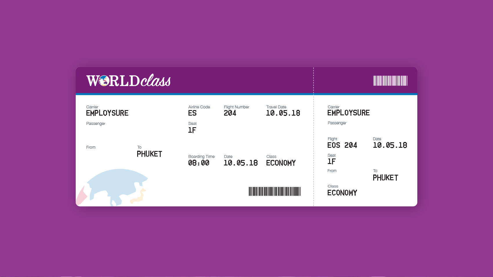 Word Class boarding pass design
