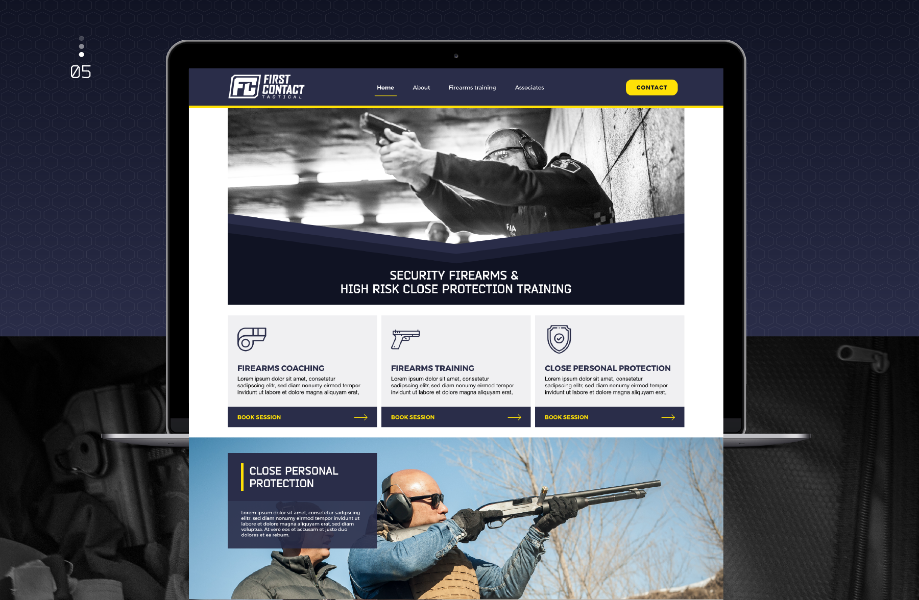 First Contact Tactical landing page design