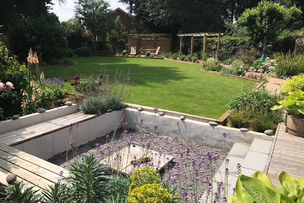 Contemporary garden for eco house, Blackmore End