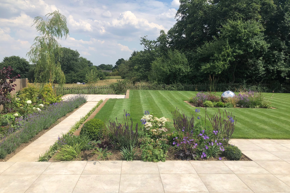 Large contemporary garden for new build house, Goffs Oak, Hertfordshire