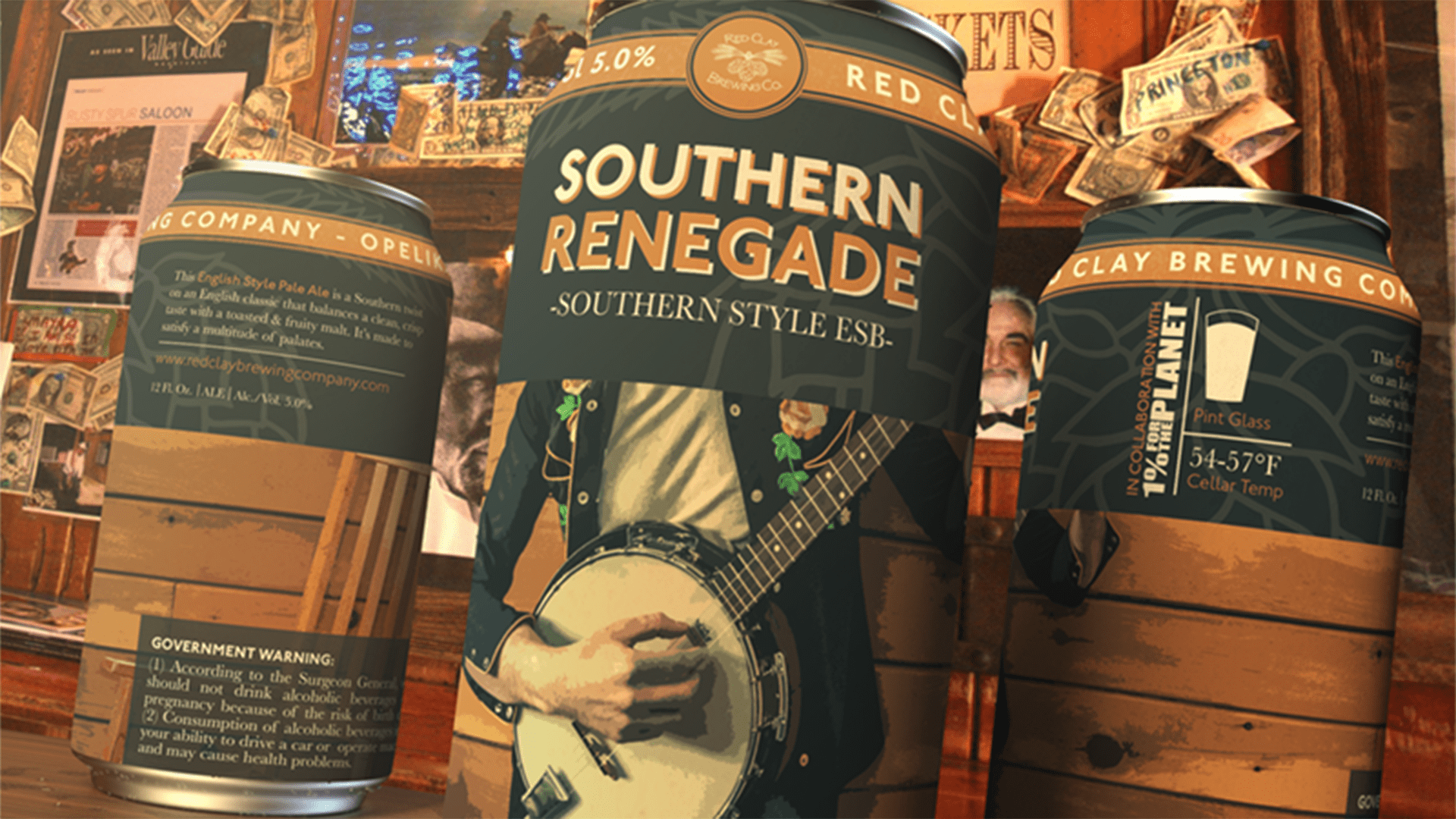 Red Clay Brewing Company Southern Renegade can design