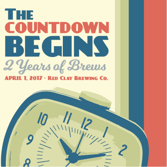 Red Clay Brewing Company anniversary social media post