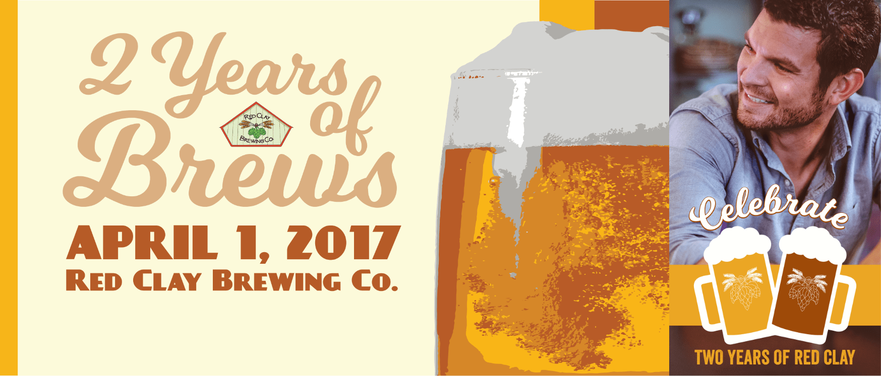 Red Clay Brewing Company anniversary header and filter
