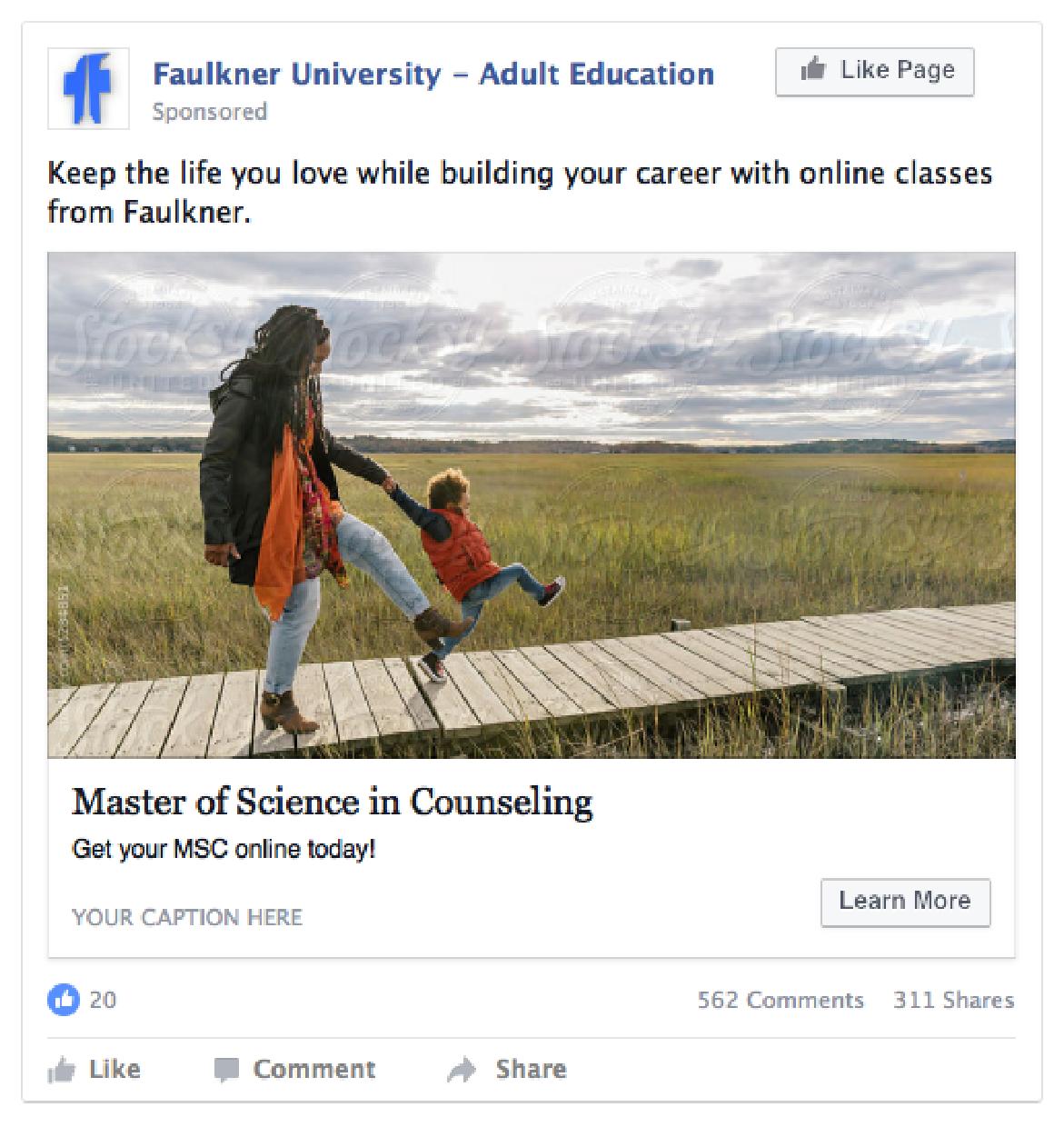 Faulkner University lead generation ad