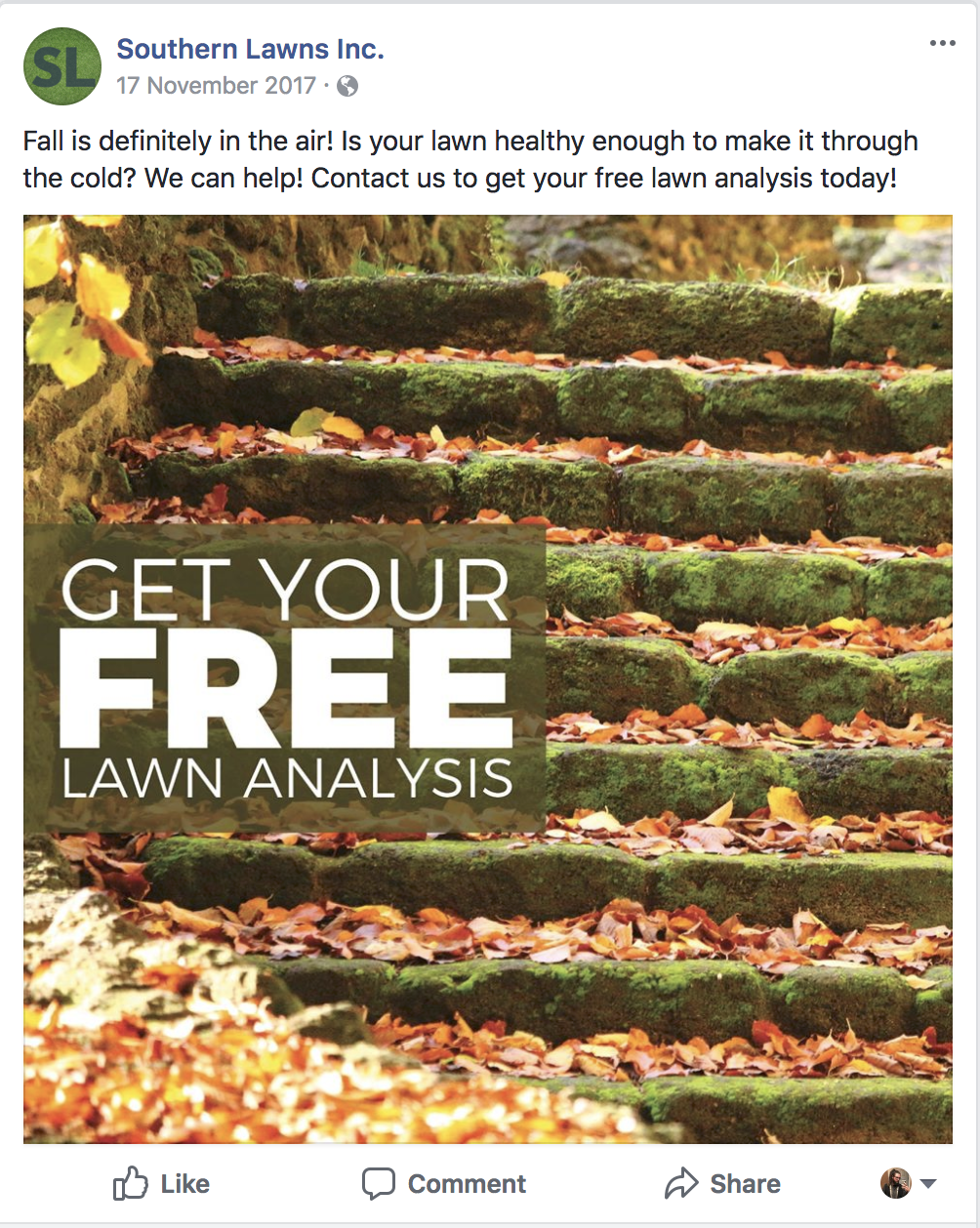 Southern Lawns social media post
