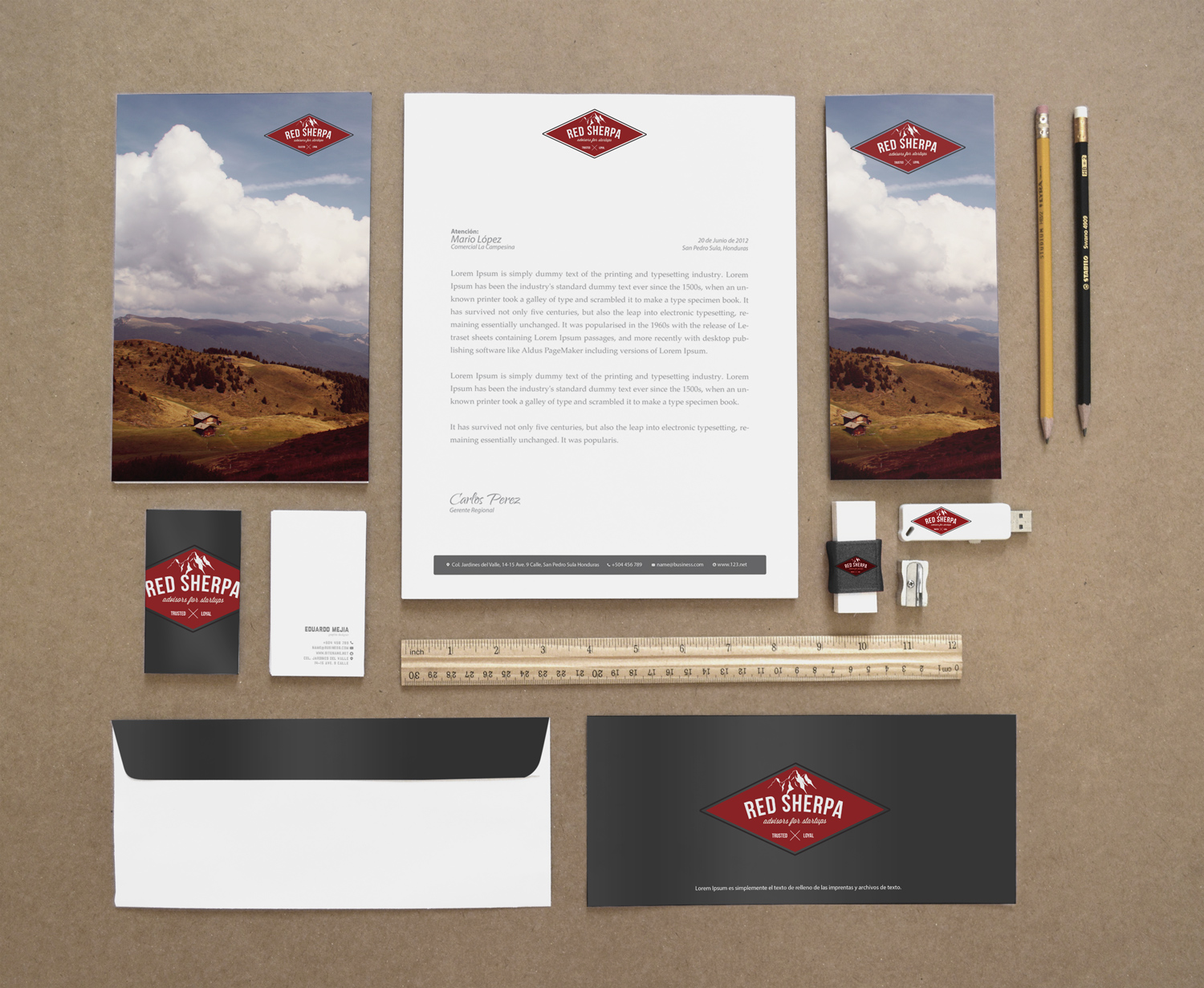 Red Sherpa stationery suite