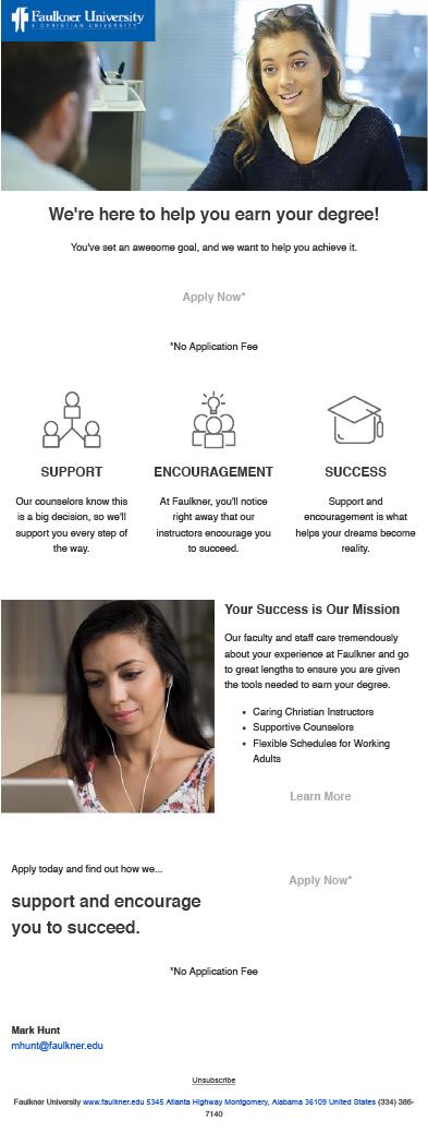Faulkner University email design