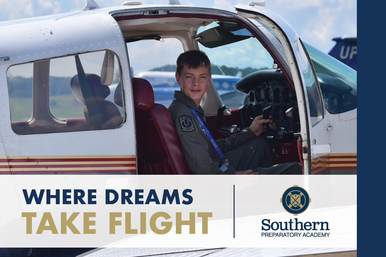 A Southern Prep postcard design showcasing a student in a plane and the phrase 'Where Dreams Take Flight.'