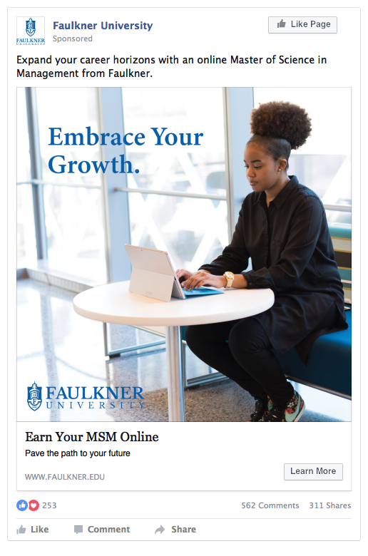 Faulkner University lead generation ad