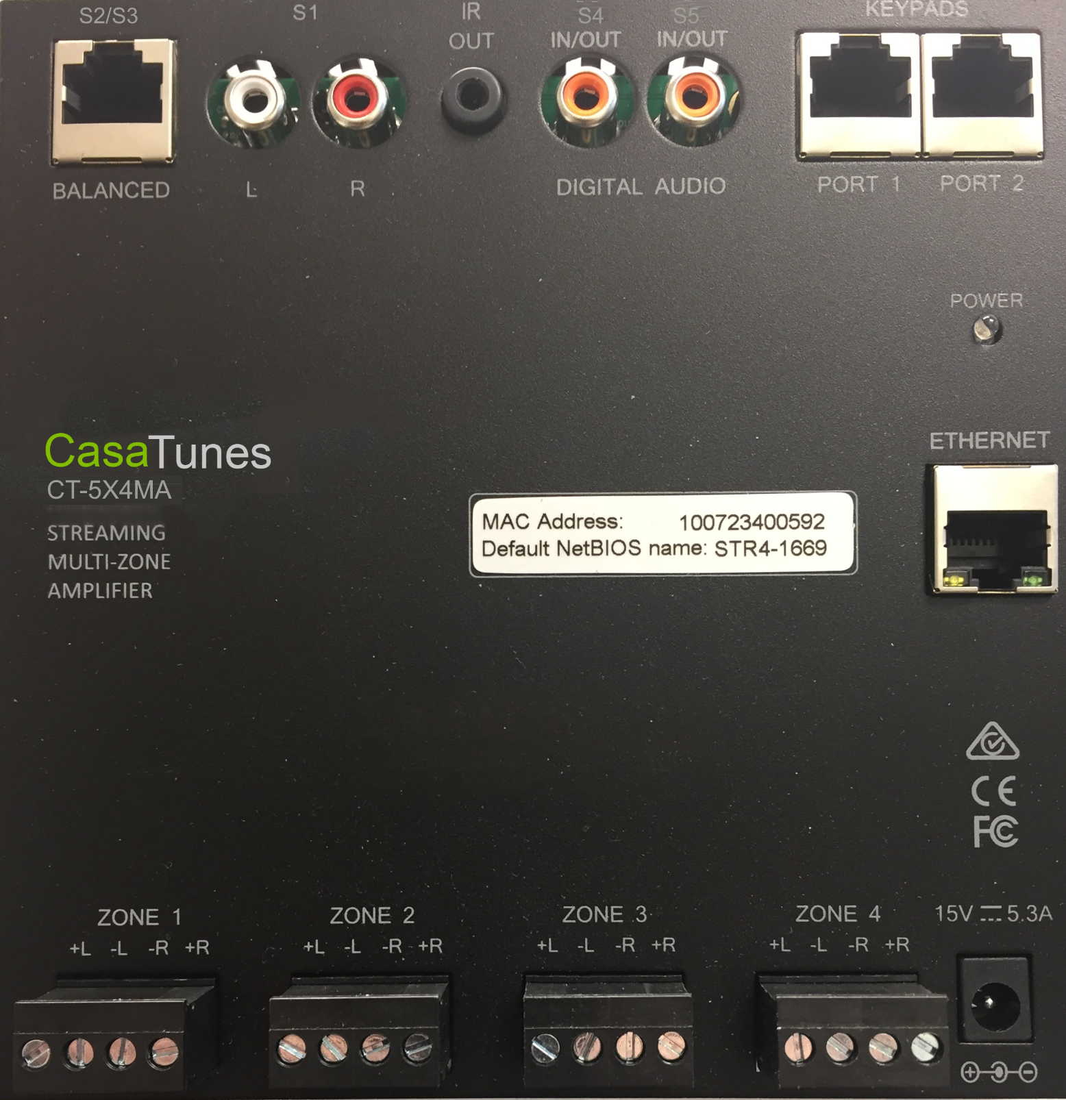 CasaTunes CT-5X4 matrix amplifier front