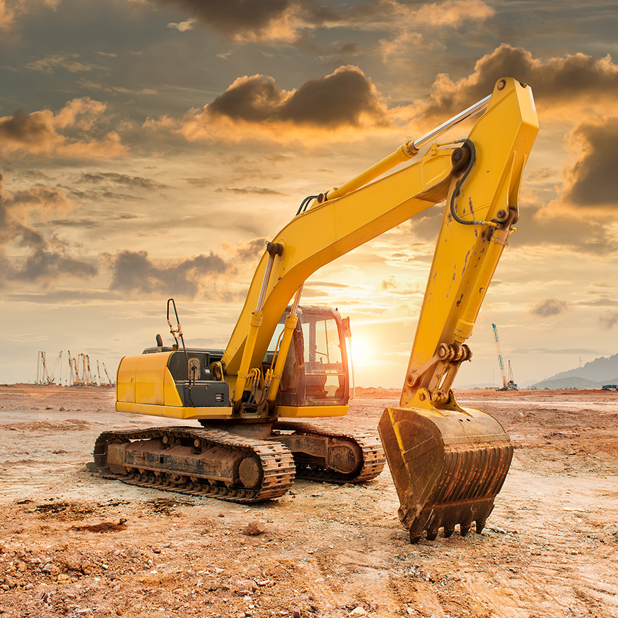 Excavator at Sunset