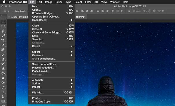 Photoshop file menu